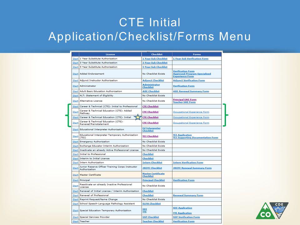 CTE Initial Application/Checklist/Forms Menu