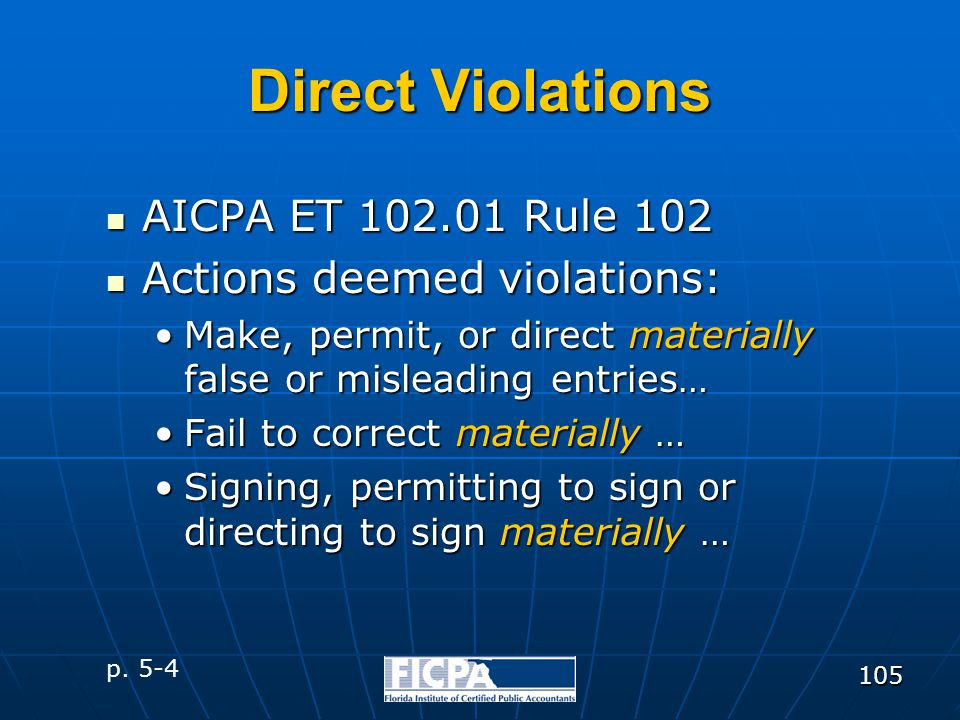 105 Direct Violations AICPA ET 102.01 Rule 102 AICPA ET 102.01 Rule 102 Actions deemed violations: Actions deemed violations: Make, permit, or direct