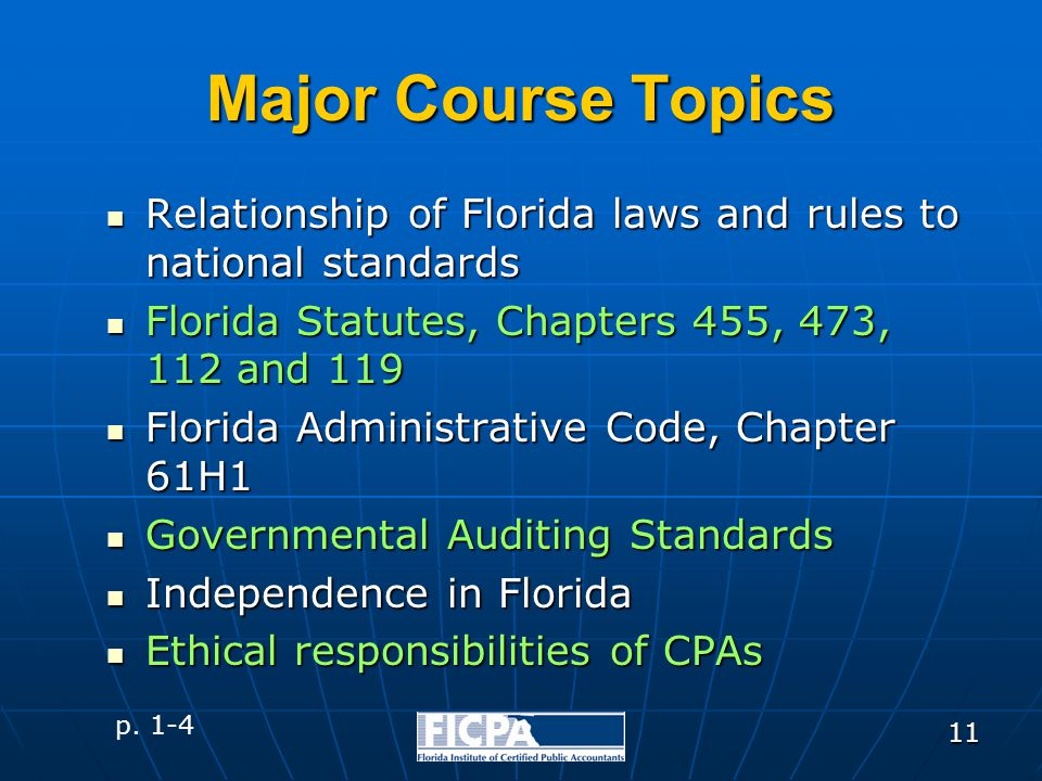 11 Major Course Topics Relationship of Florida laws and rules to national standards Relationship of Florida laws and rules to national standards Flori