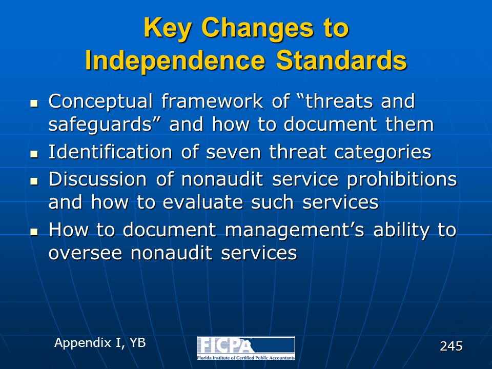 "245 Key Changes to Independence Standards Conceptual framework of ""threats and safeguards"" and how to document them Conceptual framework of ""threats a"