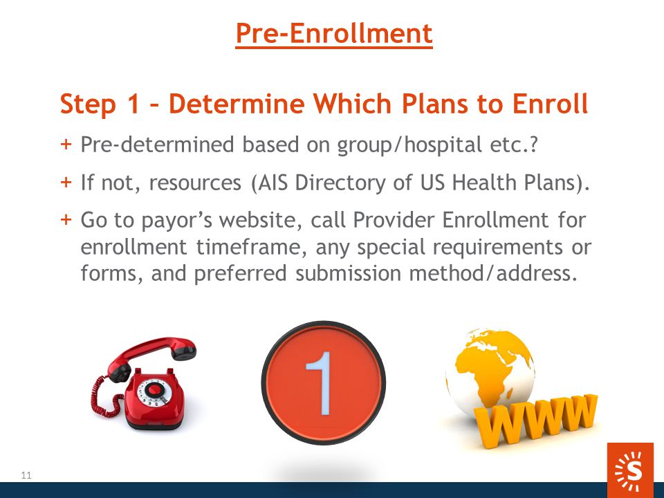 Pre-Enrollment Step 1 – Determine Which Plans to Enroll +Pre-determined based on group/hospital etc..
