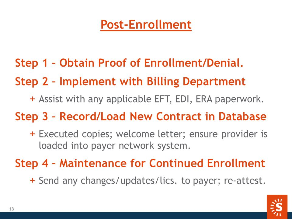Post-Enrollment Step 1 – Obtain Proof of Enrollment/Denial.