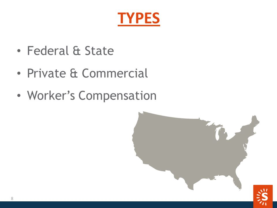 TYPES Federal & State Private & Commercial Worker's Compensation 8