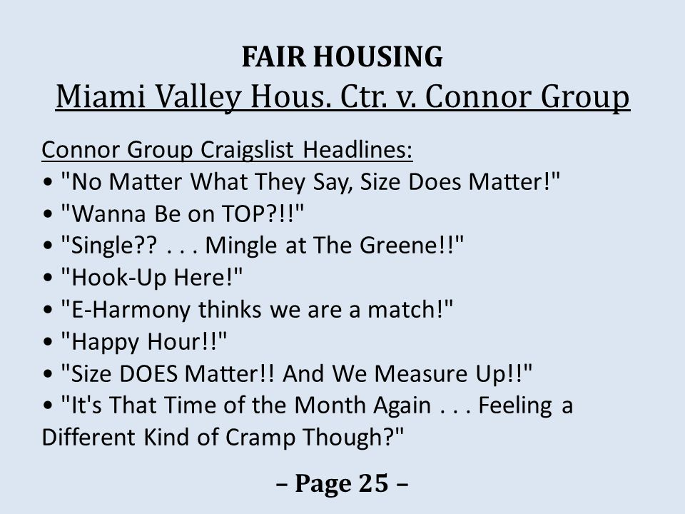FAIR HOUSING Miami Valley Hous. Ctr. v. Connor Group Connor Group Craigslist Headlines: