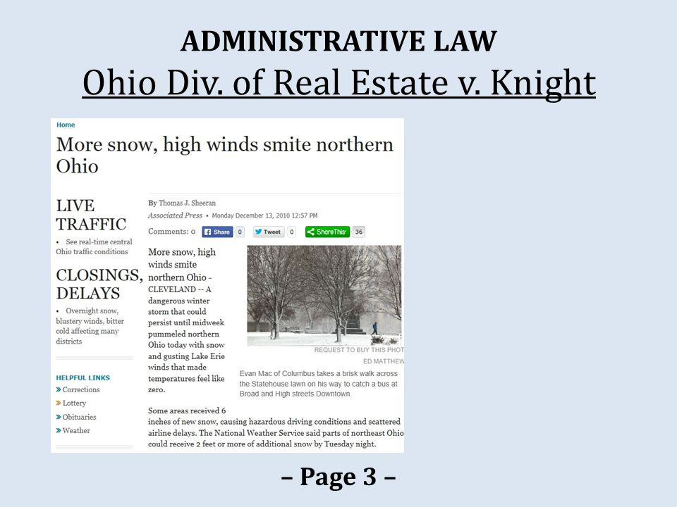 ADMINISTRATIVE LAW Ohio Div. of Real Estate v. Knight – Page 3 –