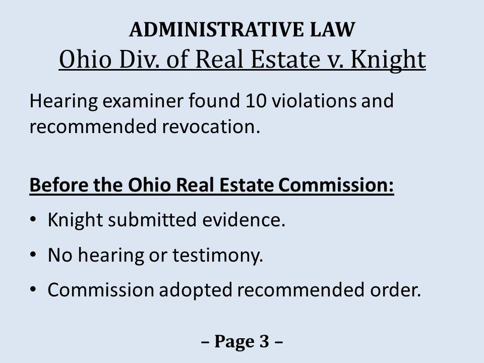 ADMINISTRATIVE LAW Ohio Div.of Real Estate v.