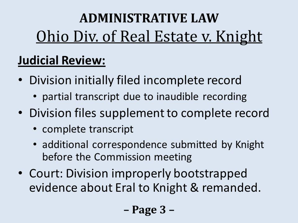 ADMINISTRATIVE LAW Ohio Div. of Real Estate v.