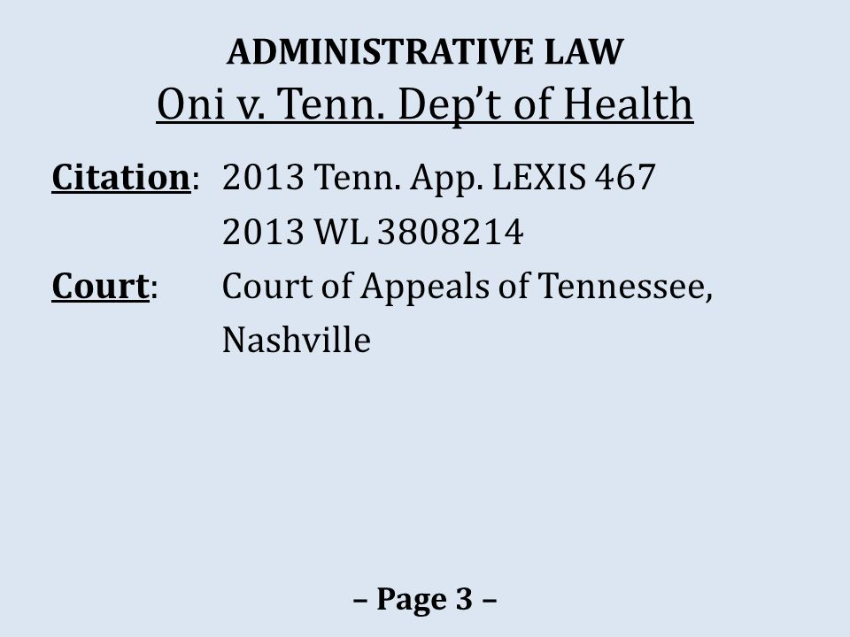 ADMINISTRATIVE LAW Oni v.Tenn. Dep't of Health 2003 Oct.