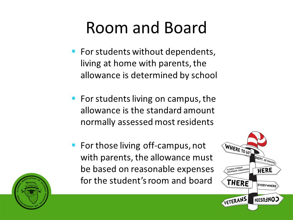Room and Board  For students without dependents, living at home with parents, the allowance is determined by school  For students living on campus, the allowance is the standard amount normally assessed most residents  For those living off-campus, not with parents, the allowance must be based on reasonable expenses for the student's room and board