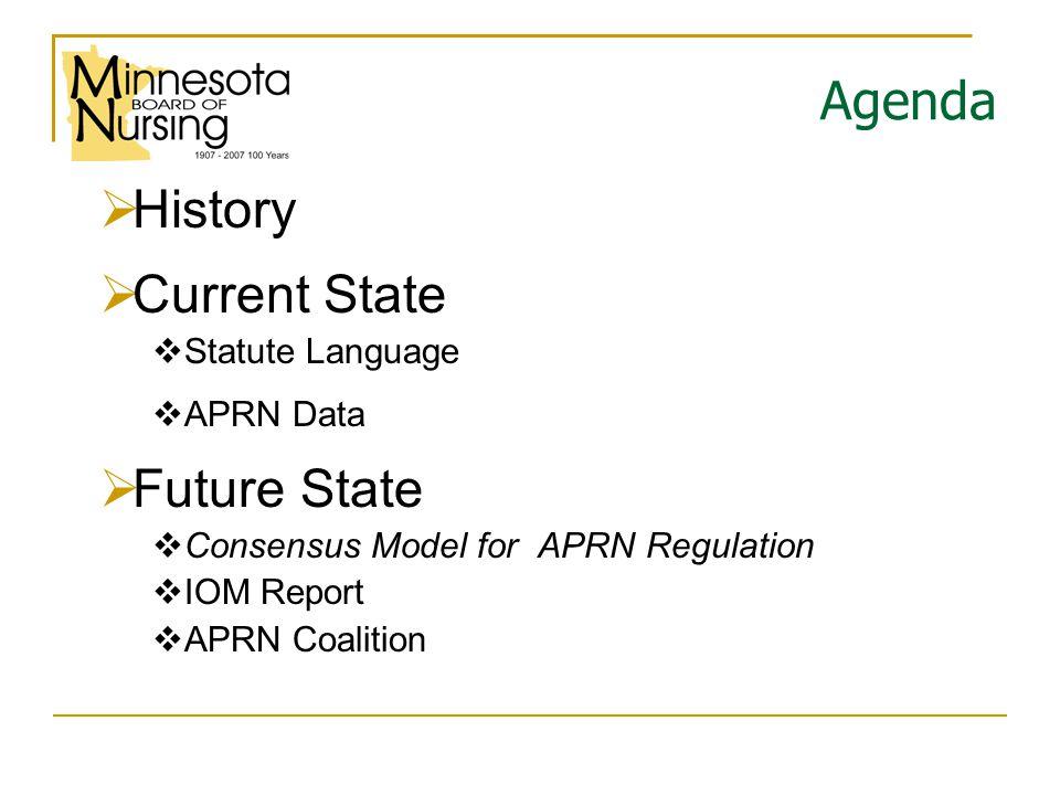 Agenda  History  Current State  Statute Language  APRN Data  Future State  Consensus Model for APRN Regulation  IOM Report  APRN Coalition