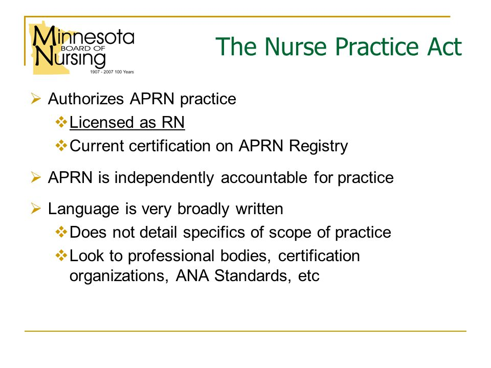 Definition Advanced practice registered nurse, abbreviated APRN, means an individual licensed as a registered nurse by the board and certified by a national nurse certification organization acceptable to the board to practice as a: cclinical nurse specialist, nnurse anesthetist, nnurse-midwife, or nnurse practitioner Minnesota statutes, section 148.171, subd 3