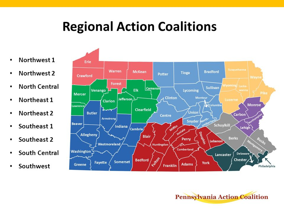 Northwest 1 Northwest 2 North Central Northeast 1 Northeast 2 Southeast 1 Southeast 2 South Central Southwest Regional Action Coalitions