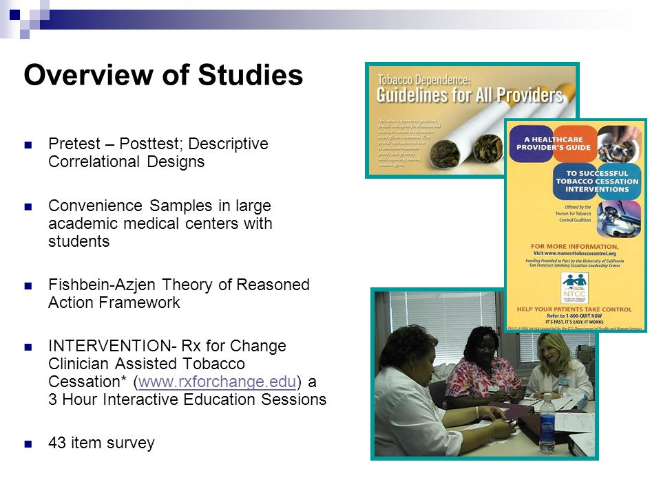 Overview of Studies Pretest – Posttest; Descriptive Correlational Designs Convenience Samples in large academic medical centers with students Fishbein-Azjen Theory of Reasoned Action Framework INTERVENTION- Rx for Change Clinician Assisted Tobacco Cessation* (www.rxforchange.edu) a 3 Hour Interactive Education Sessionswww.rxforchange.edu 43 item survey