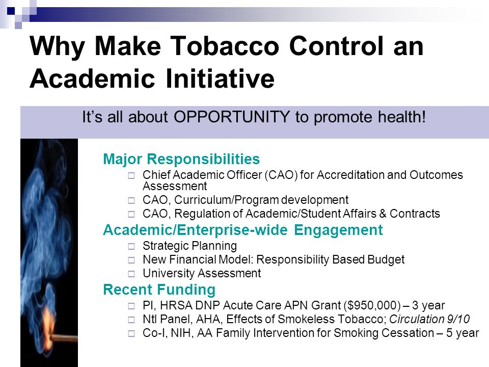 Why Make Tobacco Control an Academic Initiative It's all about OPPORTUNITY to promote health! Major Responsibilities  Chief Academic Officer (CAO) fo