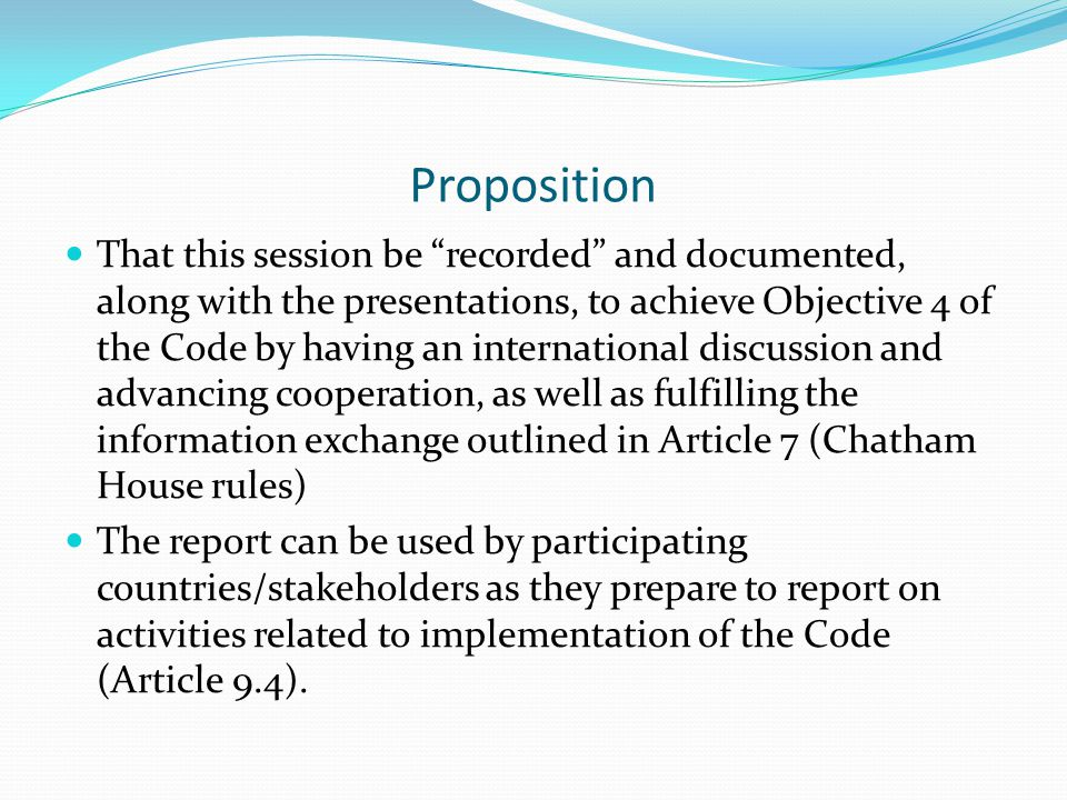 WHO Global Code of Practice on the International Recruitment of Health Personnel Article 1- Objectives (4) To facilitate and promote international discussion and advance cooperation on matters related to the ethical international recruitment of health personnel as part of strengthening health systems, with a particular focus on the situation of developing countries Article 7- Information exchange 7.1 Member States are encouraged to, as appropriate and subject to national law, promote the establishment or strengthening of information exchange on international health personnel migration and health systems, nationally and internationally, through public agencies, academic and research institutions, health professional organizations, and subregional, regional and international organizations, whether governmental or nongovernmental.