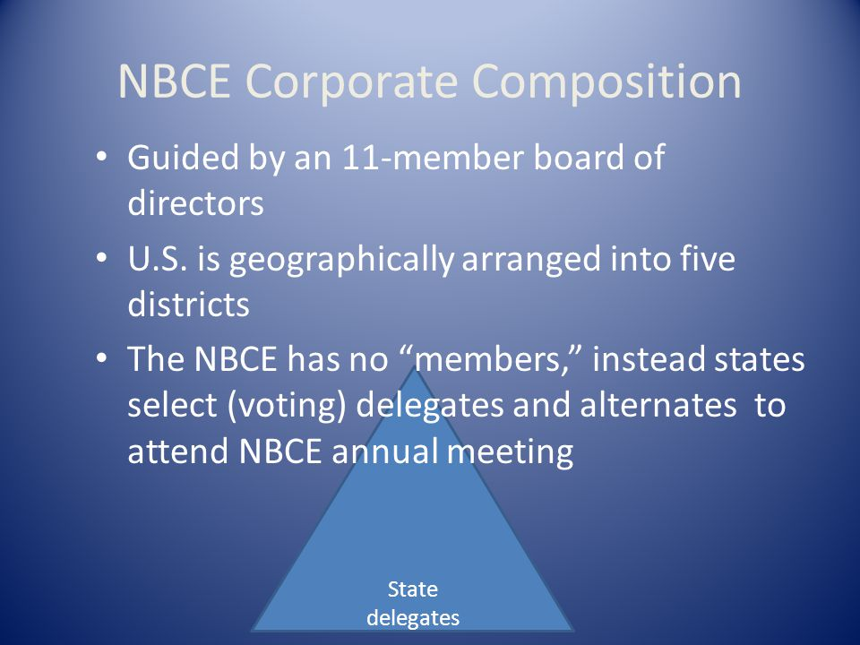 District directors State delegates NBCE Board composition: – 5 district directors – 4 at-large directors – 2 members from the FCLB leadership Board of Directors