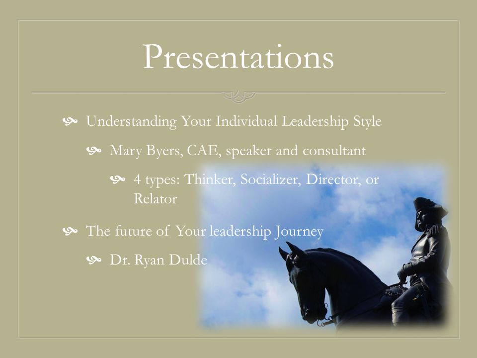 Presentations  Understanding Your Individual Leadership Style  Mary Byers, CAE, speaker and consultant  4 types: Thinker, Socializer, Director, or