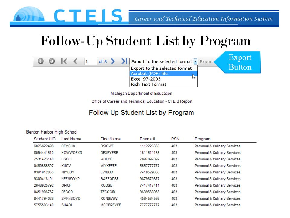 Follow-Up Student List by Program Export Button