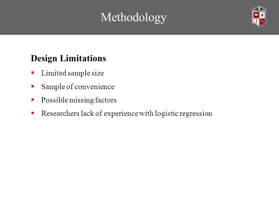 Methodology Design Limitations  Limited sample size  Sample of convenience  Possible missing factors  Researchers lack of experience with logistic