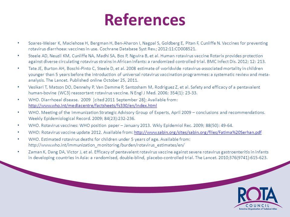References Soares-Weiser K, Maclehose H, Bergman H, Ben-Aharon I, Nagpal S, Goldberg E, Pitan F, Cunliffe N.