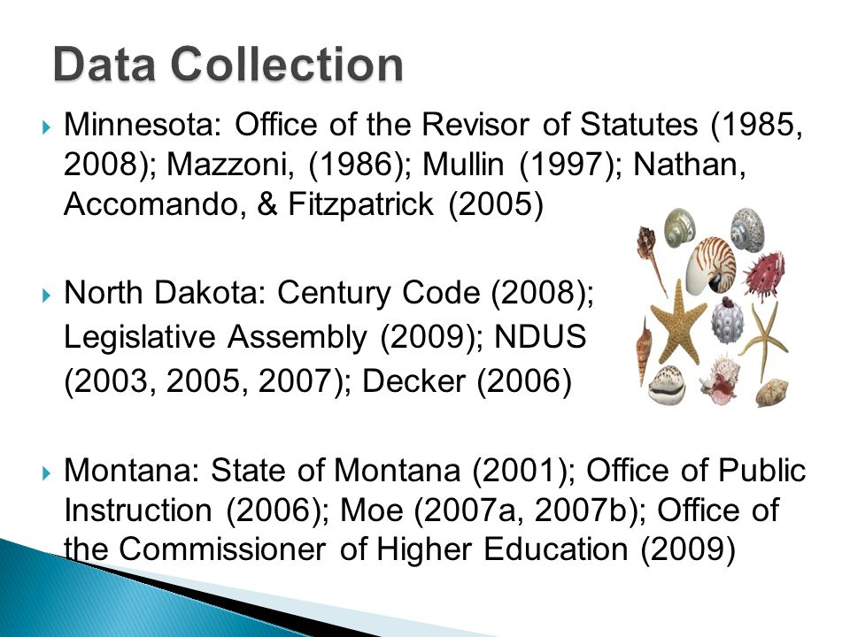  Minnesota: Office of the Revisor of Statutes (1985, 2008); Mazzoni, (1986); Mullin (1997); Nathan, Accomando, & Fitzpatrick (2005)  North Dakota: Century Code (2008); Legislative Assembly (2009); NDUS (2003, 2005, 2007); Decker (2006)  Montana: State of Montana (2001); Office of Public Instruction (2006); Moe (2007a, 2007b); Office of the Commissioner of Higher Education (2009)