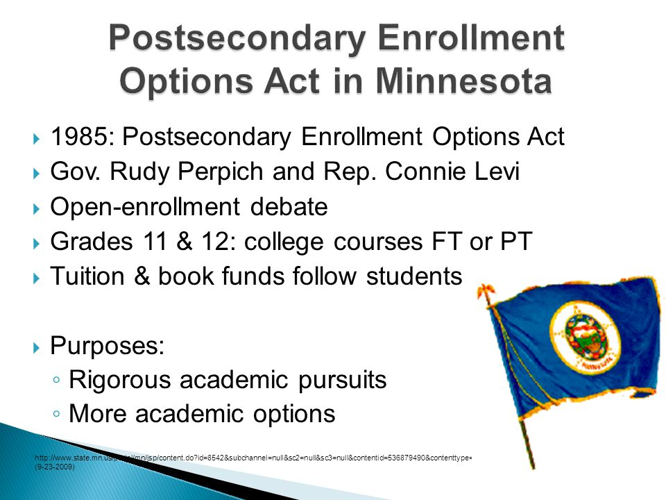  1985: Postsecondary Enrollment Options Act  Gov.