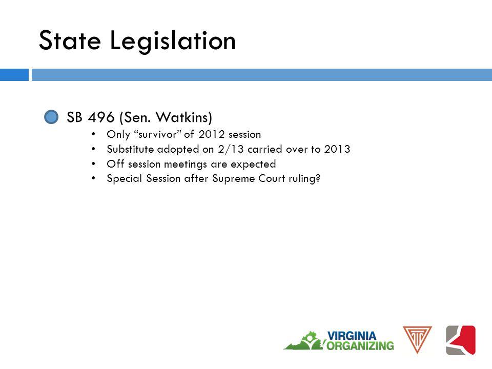 State Legislation SB 496 (Sen.