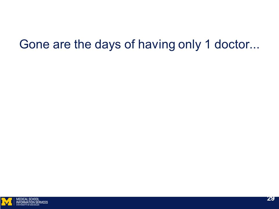 Gone are the days of having only 1 doctor... 29