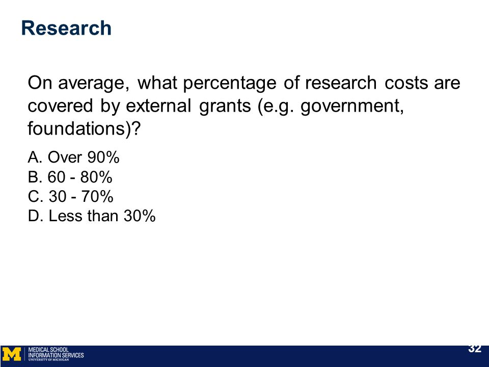 Research On average, what percentage of research costs are covered by external grants (e.g. government, foundations)? A. Over 90% B. 60 - 80% C. 30 -