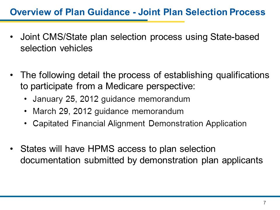 8 Overview of Plan Guidance - Medicare Components of the Plan Selection Process CMS' plan selection process includes approval of: Integrated formulary April 30 – New formulary submissions May 14 – Formulary crosswalk requests June 8 and June 15 – Supplemental formulary file submissions Demonstration application: May 24, 2012 Unified model of care: May 24, 2012 Medication therapy management program: May 25, 2012 Integrated plan benefit package: June 4, 2012