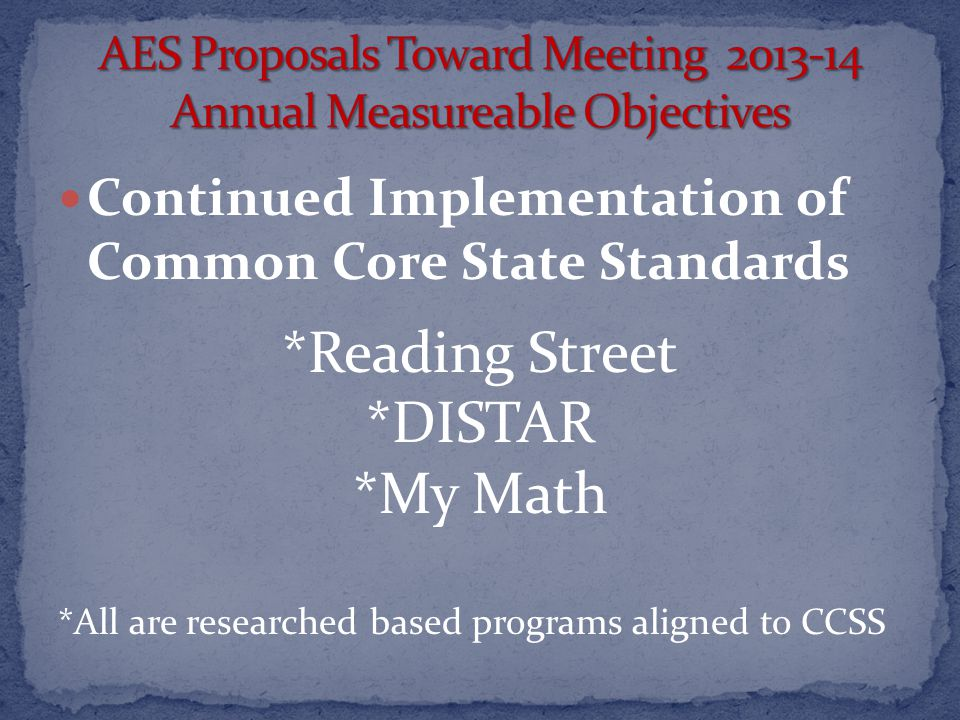Continued Implementation of Common Core State Standards *Reading Street *DISTAR *My Math *All are researched based programs aligned to CCSS