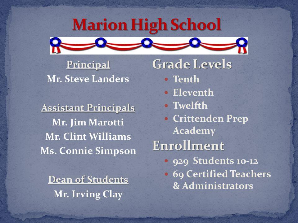 Grade Levels Tenth Eleventh Twelfth Crittenden Prep AcademyEnrollment 929 Students 10-12 69 Certified Teachers & Administrators Principal Mr.