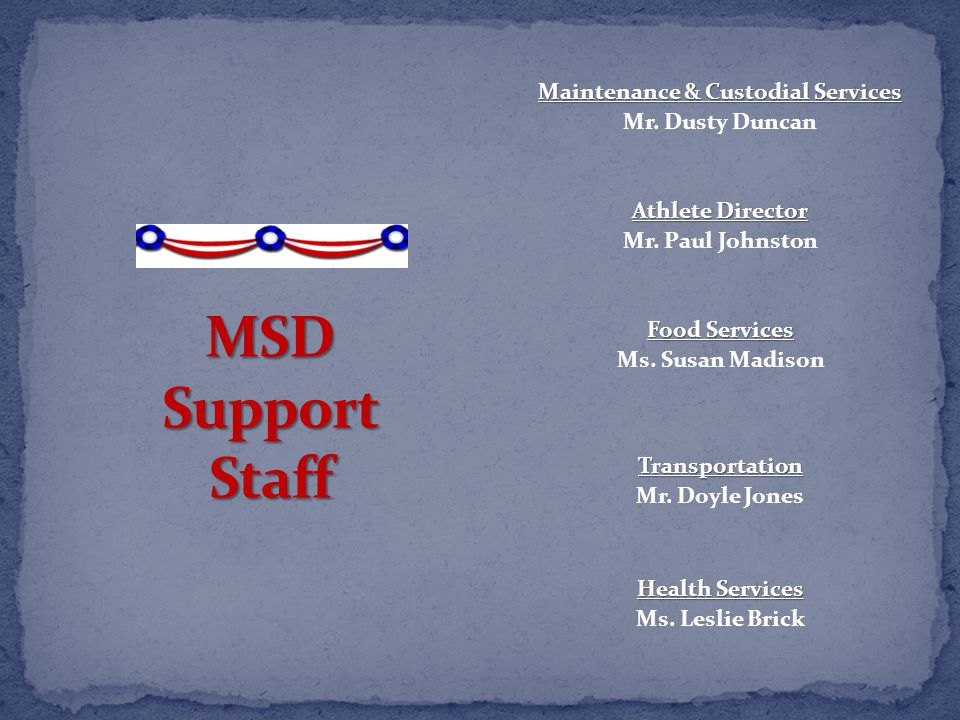 Maintenance & Custodial Services Mr. Dusty Duncan Athlete Director Mr.