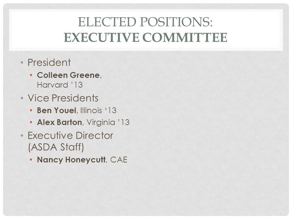 ELECTED POSITIONS: EXECUTIVE COMMITTEE President Colleen Greene, Harvard '13 Vice Presidents Ben Youel, Illinois '13 Alex Barton, Virginia '13 Executive Director (ASDA Staff) Nancy Honeycutt, CAE