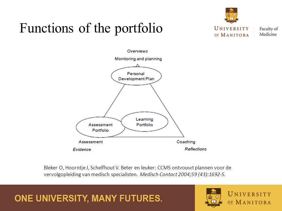 Functions of the portfolio Bleker O, Hoorntje J, Schelfhout V. Beter en leuker: CCMS ontvouwt plannen voor de vervolgopleiding van medisch specialiste