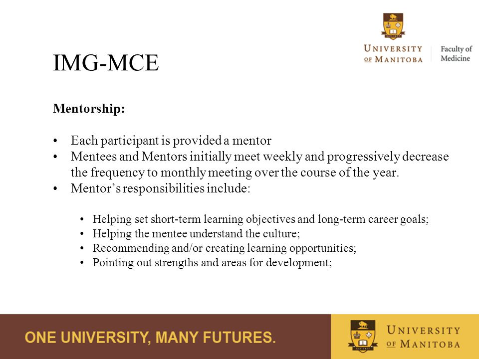 IMG-MCE Mentorship: Each participant is provided a mentor Mentees and Mentors initially meet weekly and progressively decrease the frequency to monthly meeting over the course of the year.