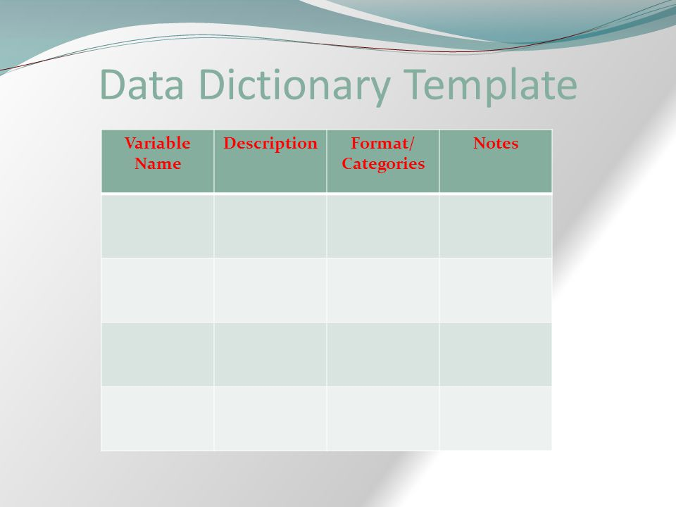 Data Dictionary Template Variable Name DescriptionFormat/ Categories Notes