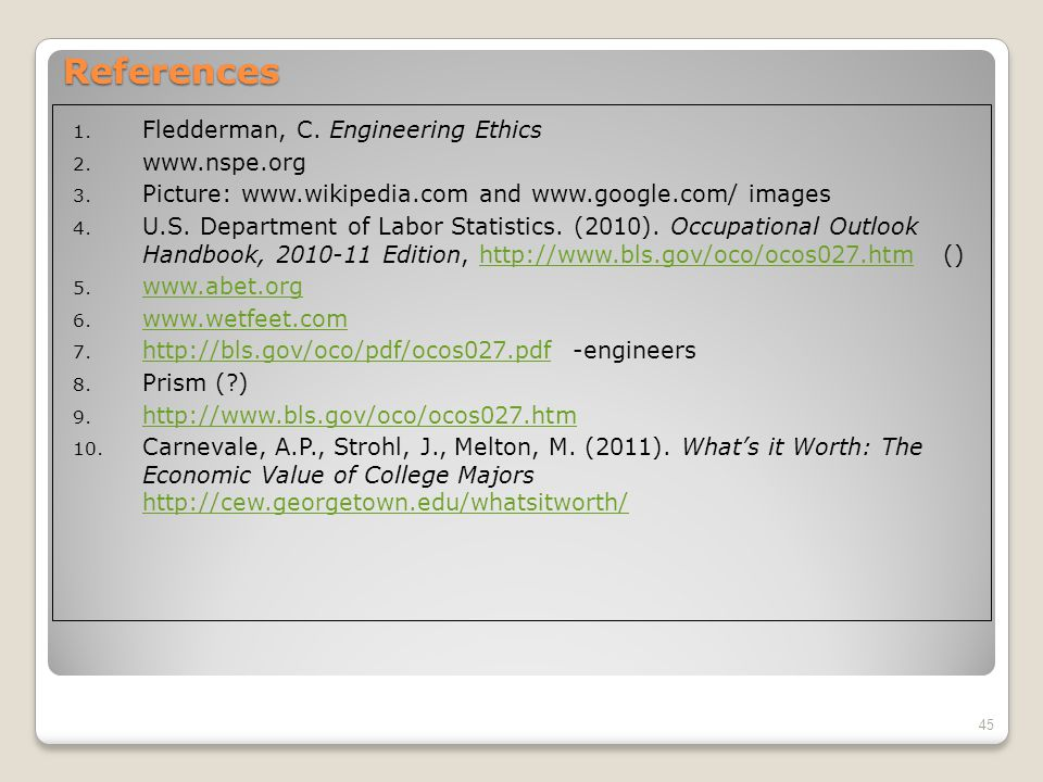 References 1. Fledderman, C. Engineering Ethics 2.