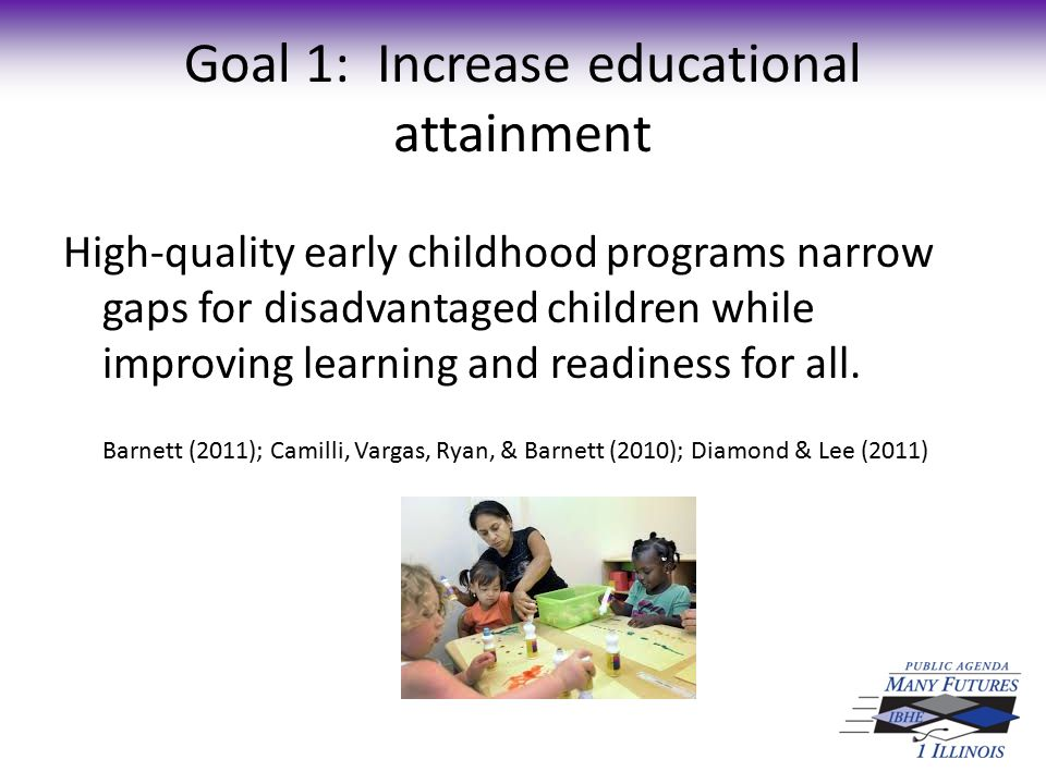 Goal 1: Increase educational attainment High-quality early childhood programs have long-term benefits for children and society.