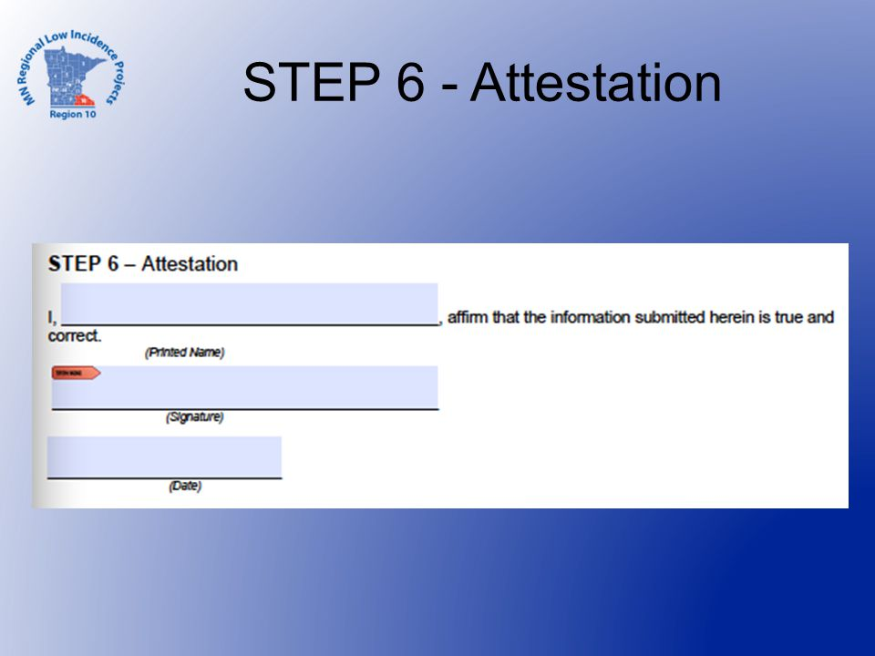 STEP 6 - Attestation