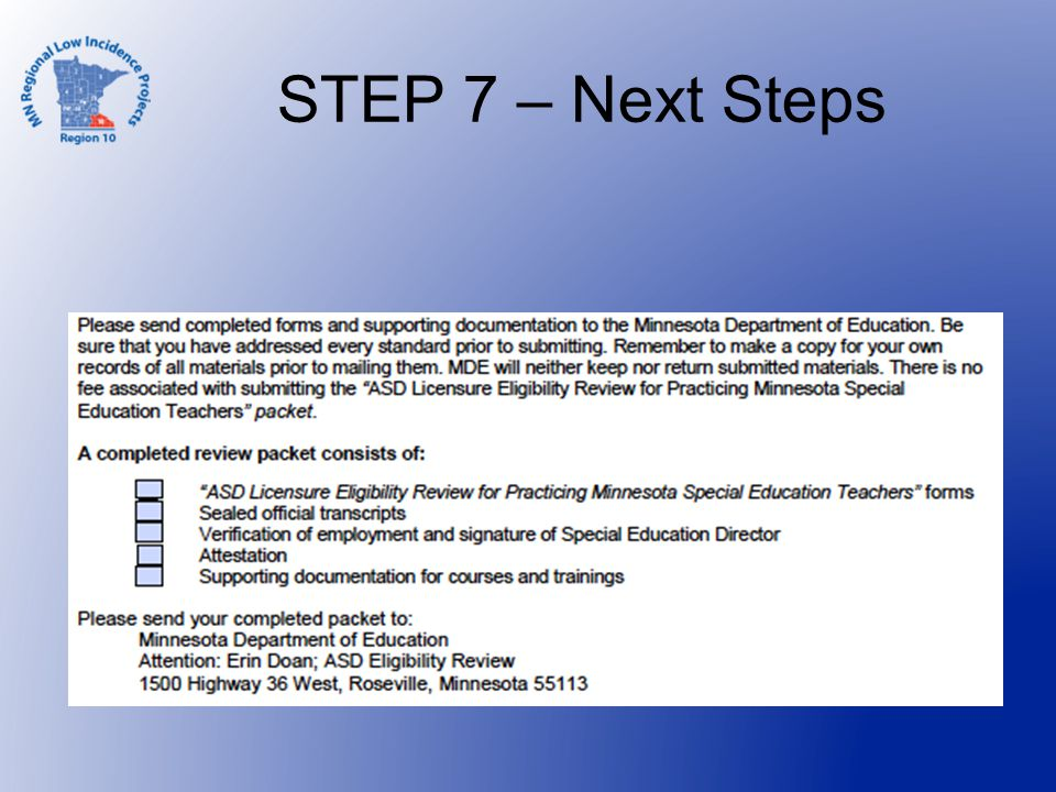 STEP 7 – Next Steps