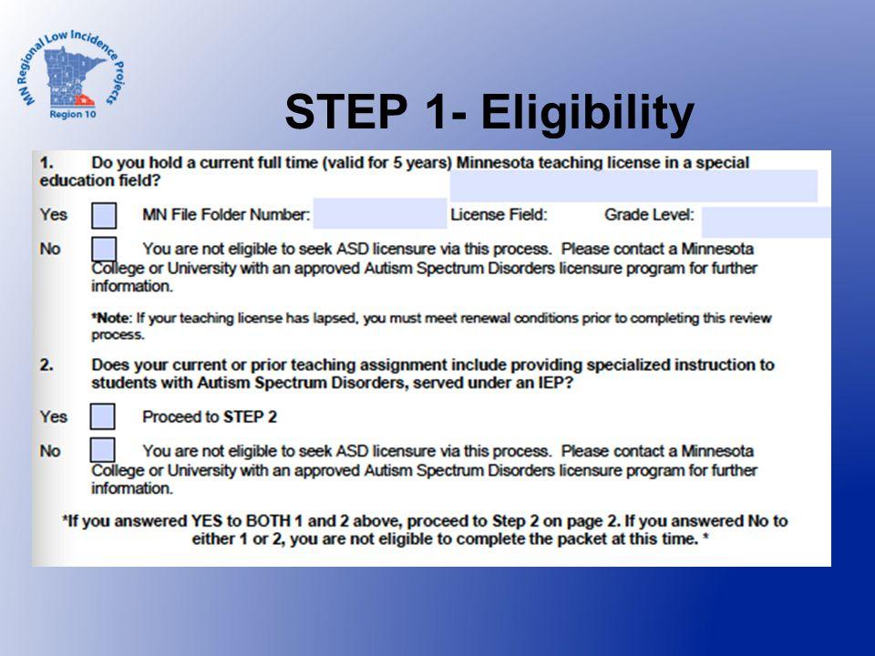 STEP 1- Eligibility