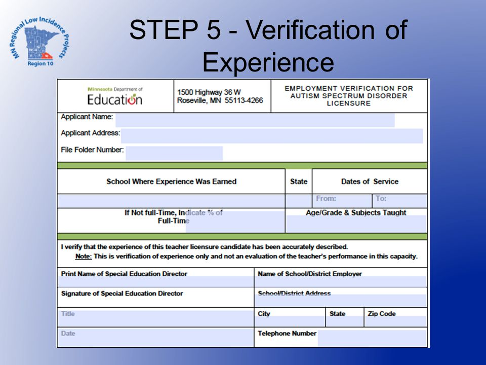 STEP 5 - Verification of Experience