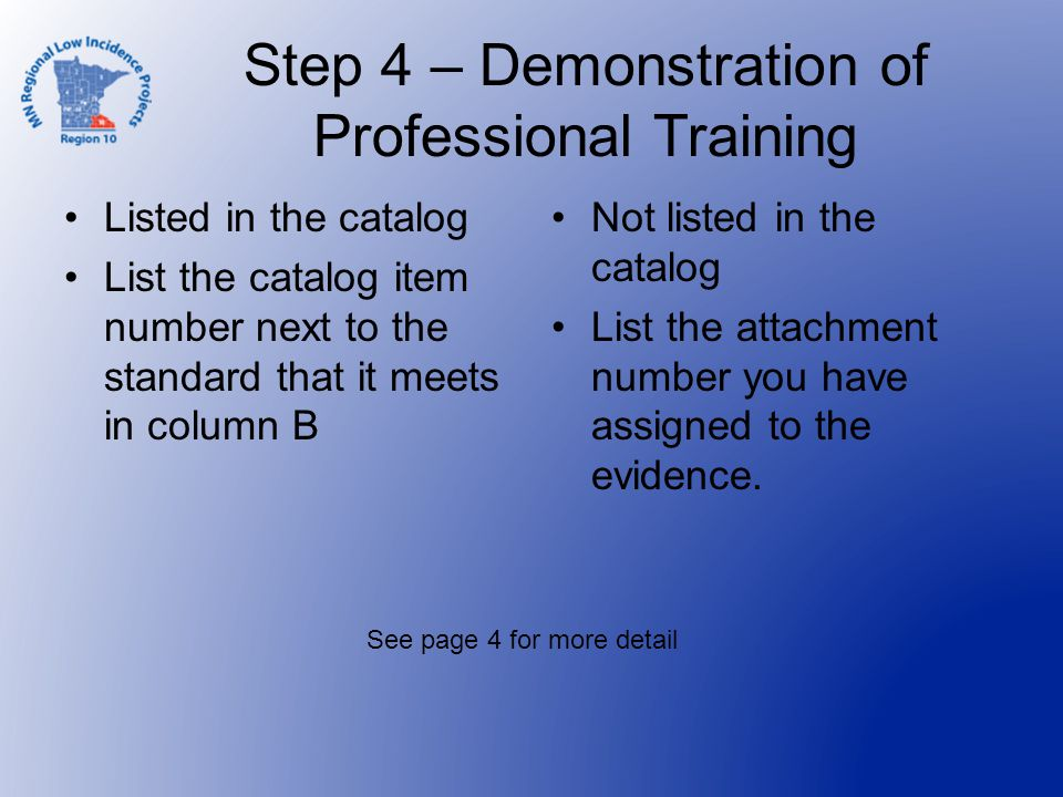 Step 4 – Demonstration of Professional Training Listed in the catalog List the catalog item number next to the standard that it meets in column B Not listed in the catalog List the attachment number you have assigned to the evidence.