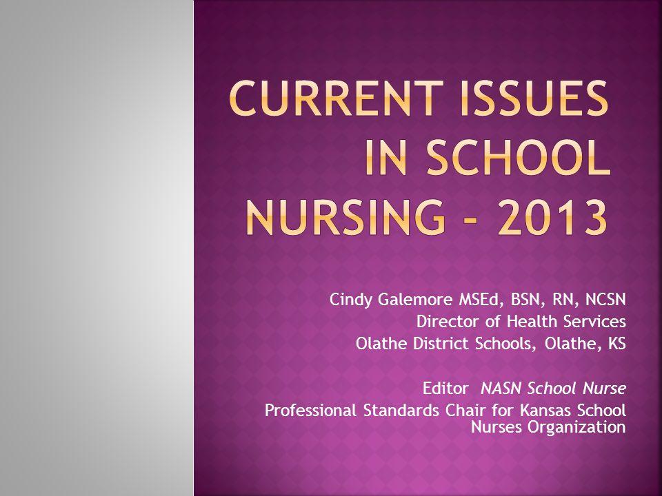 Cindy Galemore MSEd, BSN, RN, NCSN Director of Health Services Olathe District Schools, Olathe, KS Editor NASN School Nurse Professional Standards Chair for Kansas School Nurses Organization