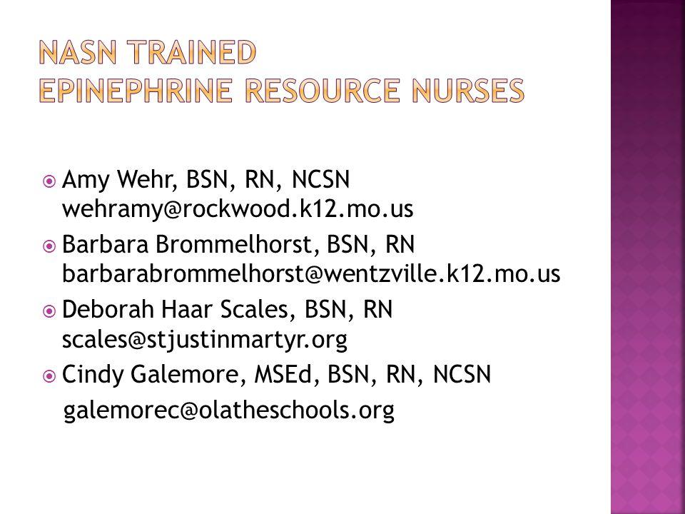  Amy Wehr, BSN, RN, NCSN wehramy@rockwood.k12.mo.us  Barbara Brommelhorst, BSN, RN barbarabrommelhorst@wentzville.k12.mo.us  Deborah Haar Scales, BSN, RN scales@stjustinmartyr.org  Cindy Galemore, MSEd, BSN, RN, NCSN galemorec@olatheschools.org