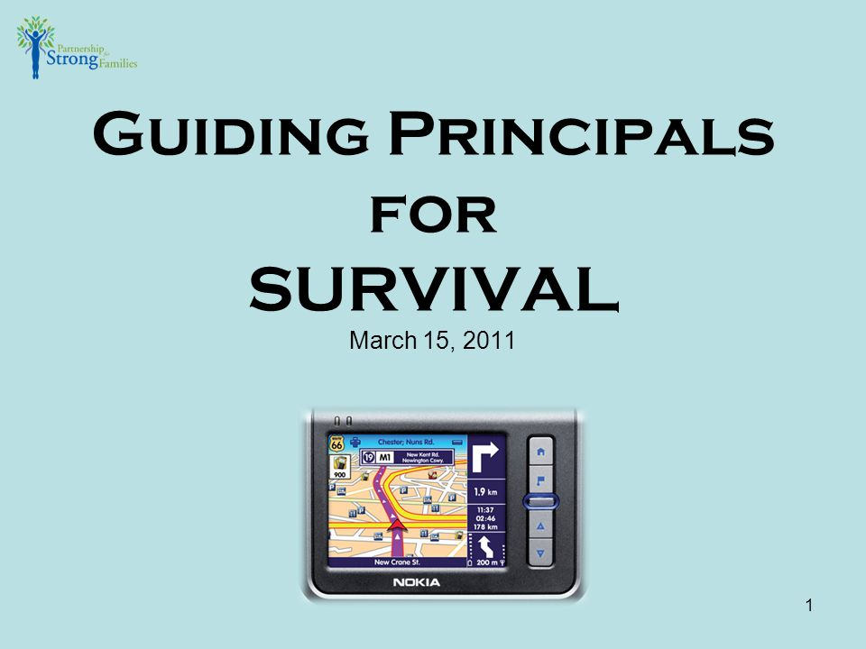 Guiding Principals for SURVIVAL March 15, 2011 1