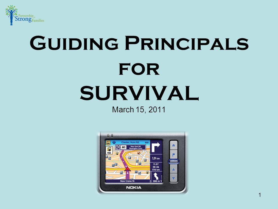 Guiding Principals for SURVIVAL March 15, 2011 1