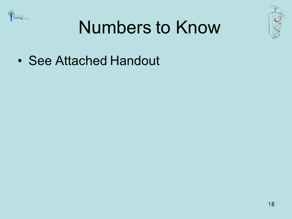 18 See Attached Handout Numbers to Know