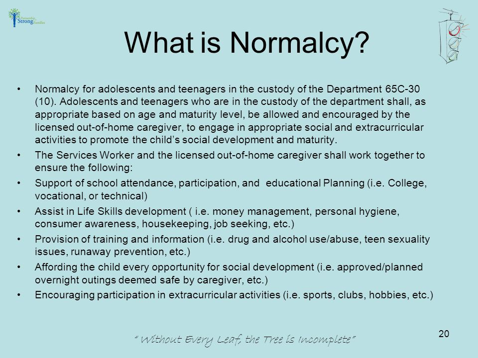 Normalcy for adolescents and teenagers in the custody of the Department 65C-30 (10).